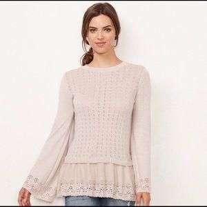 LC LAUREN CONRAD Pointelle Babydoll Sweater